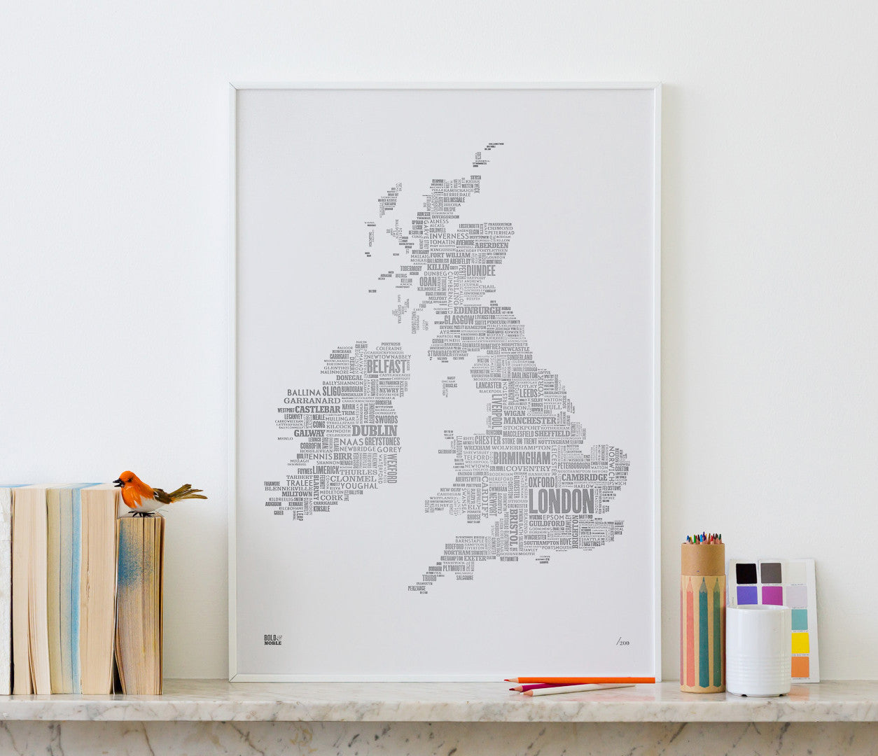 'UK and Ireland' Type Map Print, Limited Edition, Foil Blocked in Silver