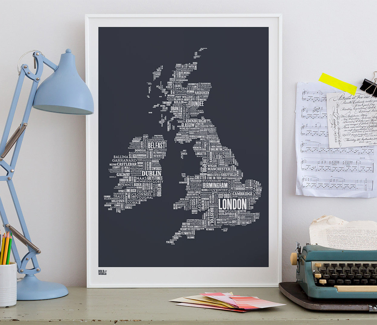 'UK and Ireland' Type Map Print in Sheer Slate