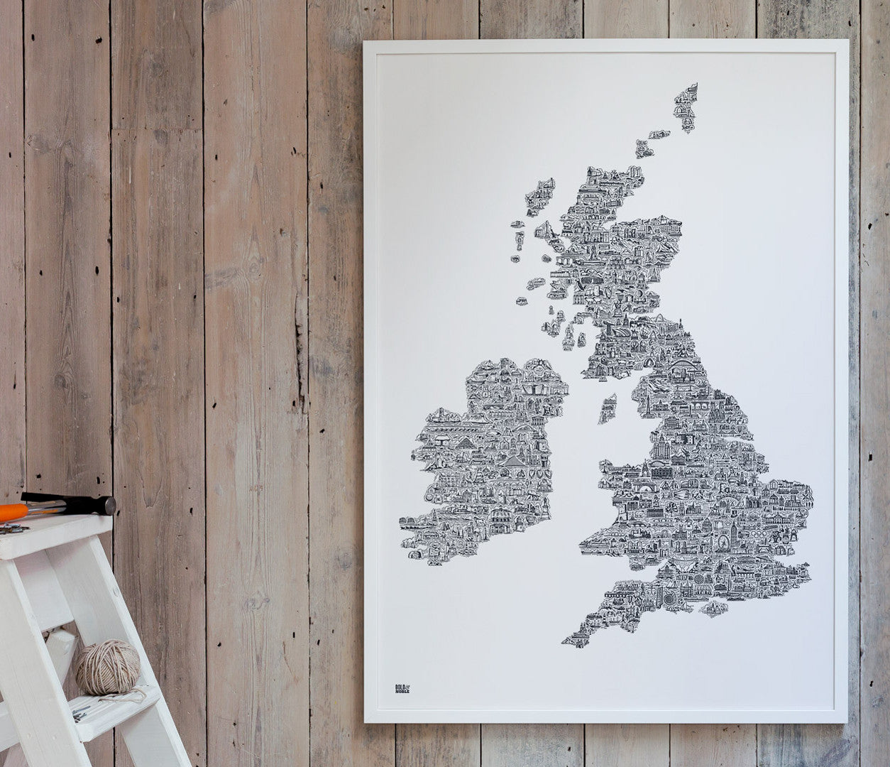 'UK and Ireland' XL Illustrated Map in Sheer Slate