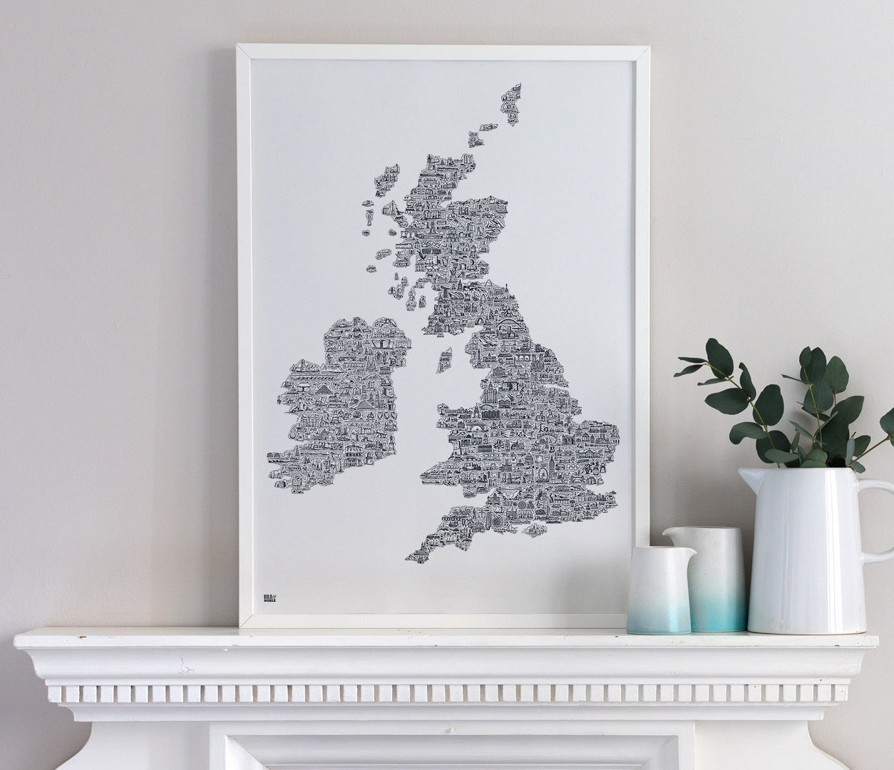 Empty Map Of Ireland.Uk And Ireland Xl Illustrated Map In Sheer Slate