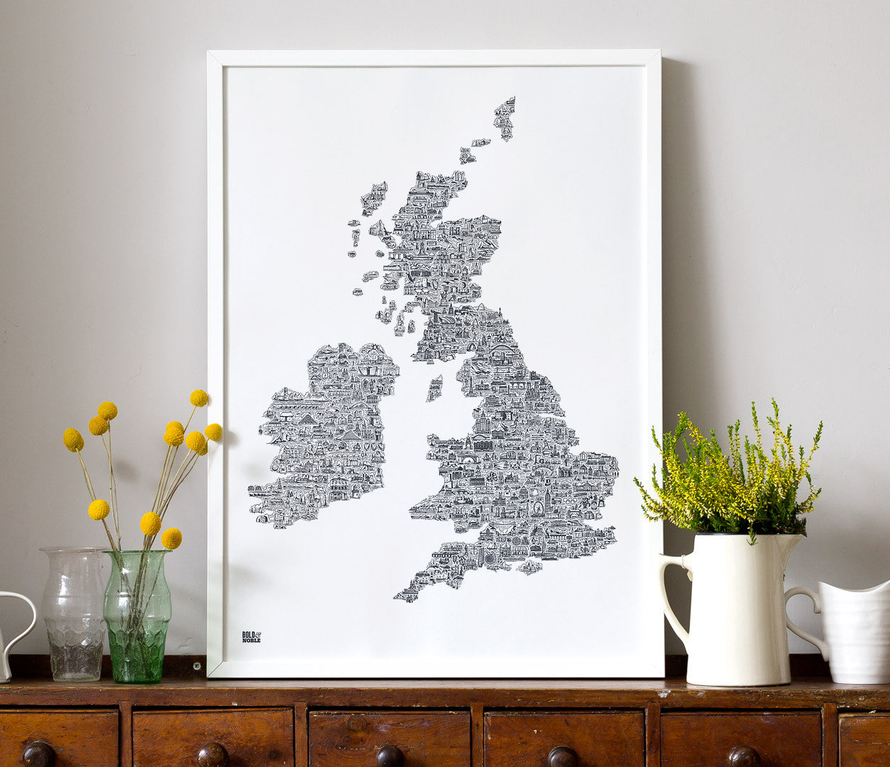 Map Of Ireland And The Uk.Uk And Ireland Illustrated Map In Sheer Slate Bold Noble