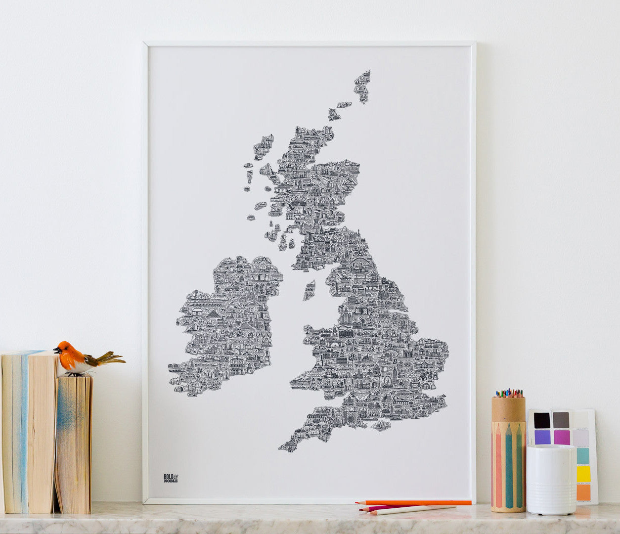 'UK and Ireland' Illustrated Map in Sheer Slate