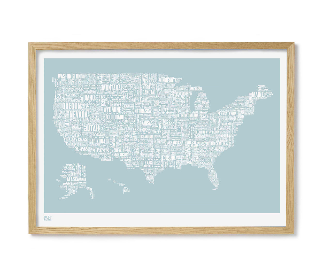 Map Of America Looks Like A Duck.Usa Type Map Print In Duck Egg Blue Bold Noble