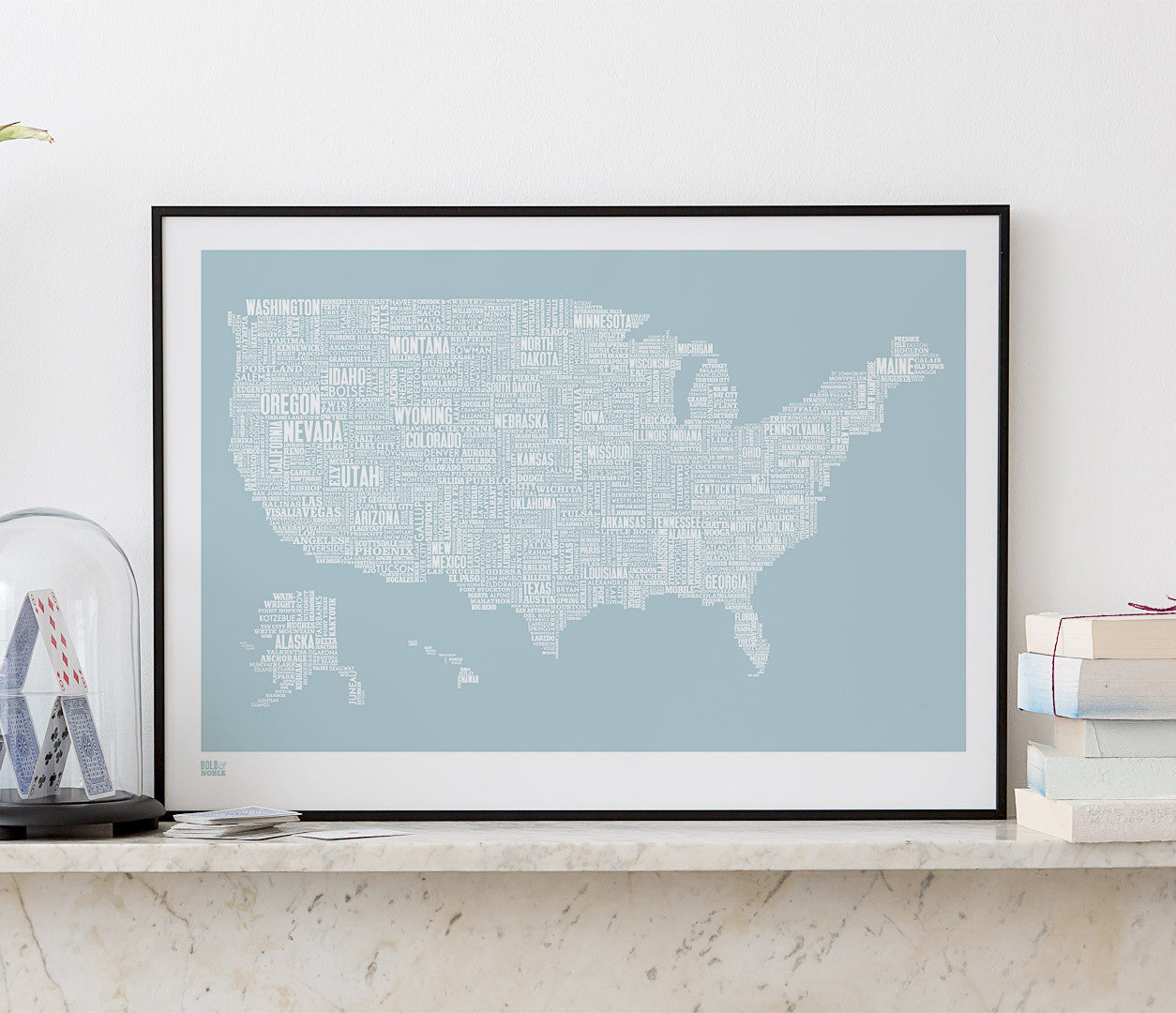 Wordle Map of USA, place names created with different fonts, fits into standard size frames, or can be bespoke framed