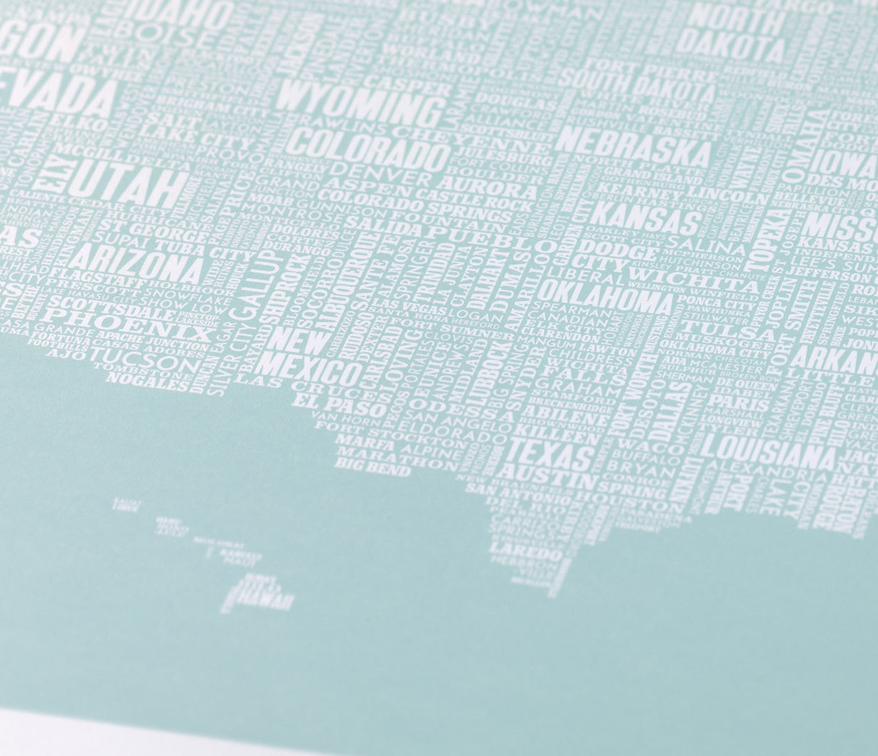 Close up of Illustrated USA Type Map in Blue