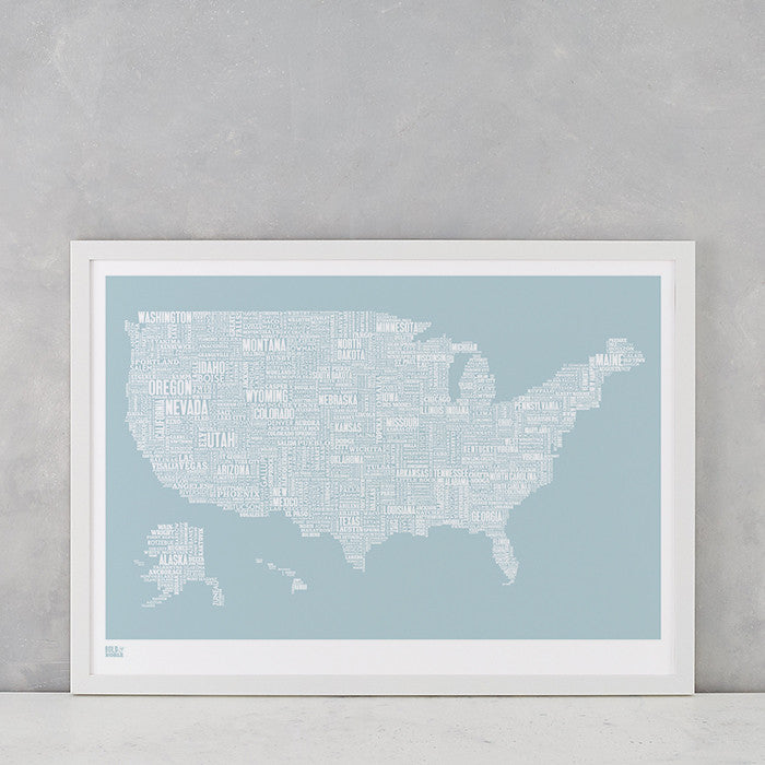 USA Type Map Print, screen printed in the UK, deliver worldwide