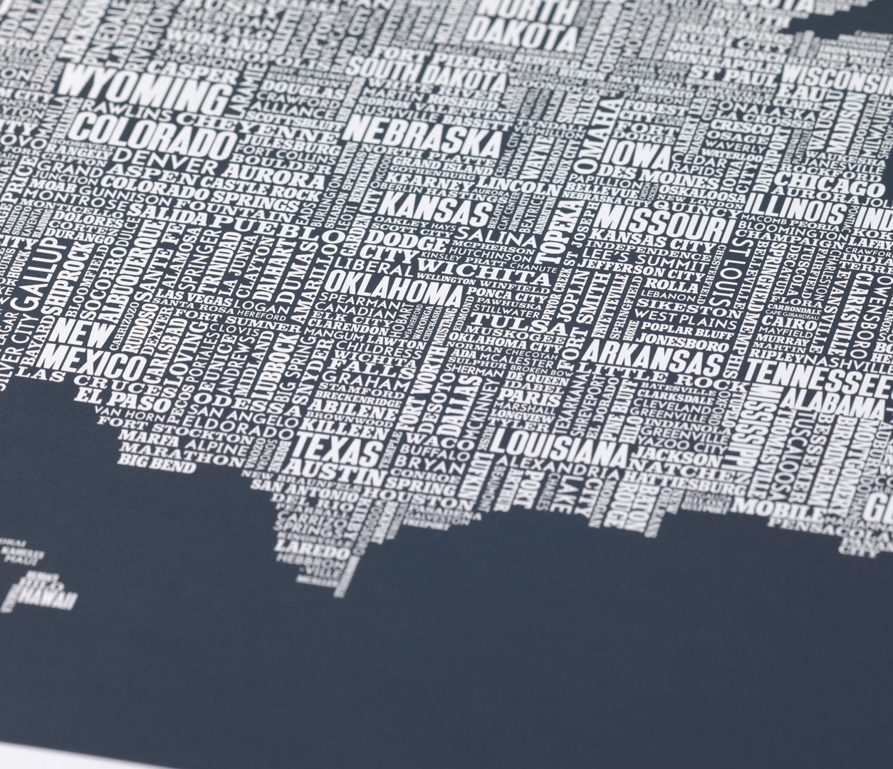 Close up of Illustrated USA Type Map in Slate Dark Grey
