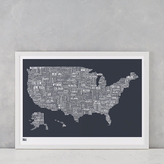 'USA' Type Map Print in Sheer Slate