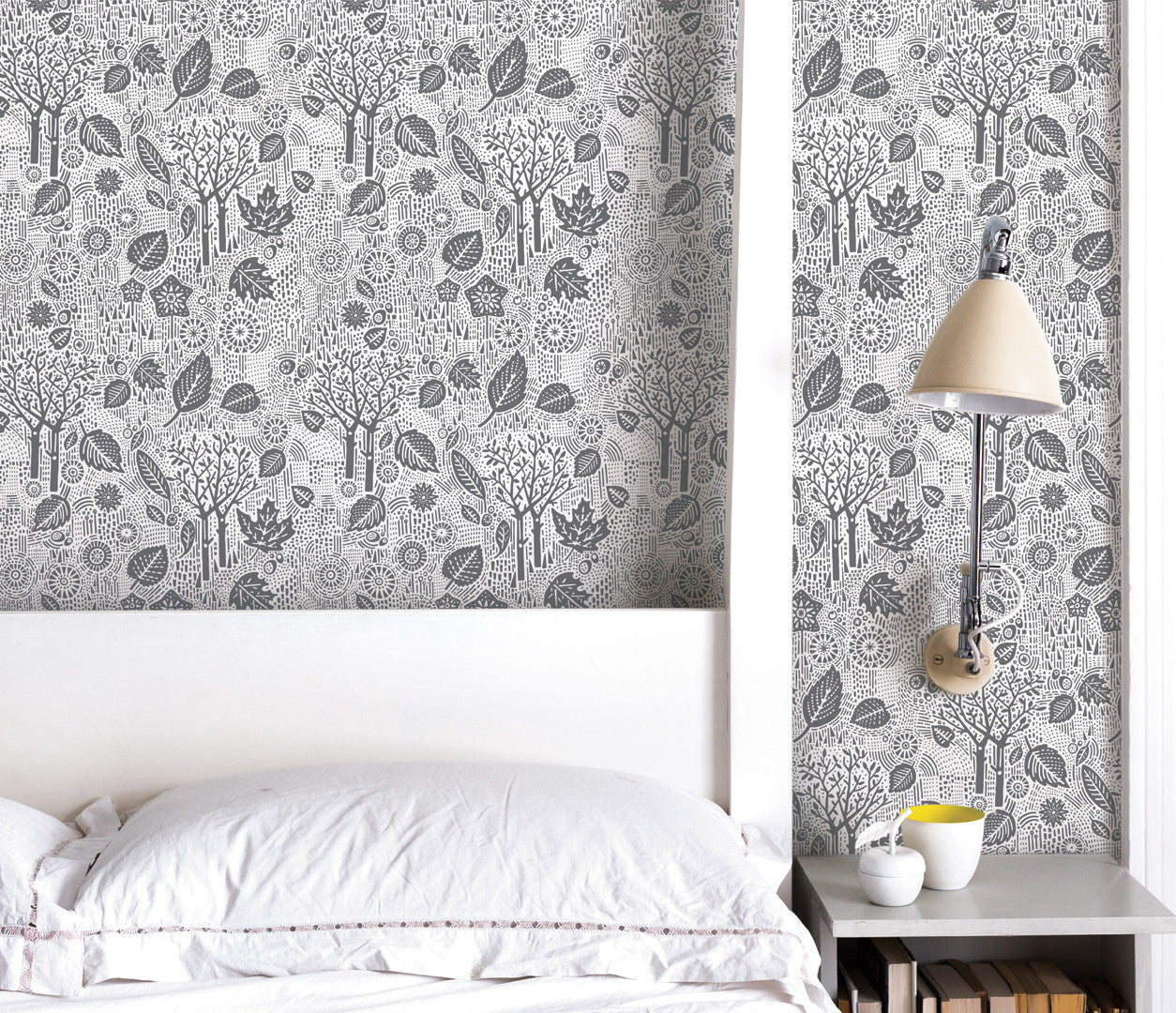 Bedroom wallpaper ideas, Autumn Leaves in charcoal grey, nature inspired