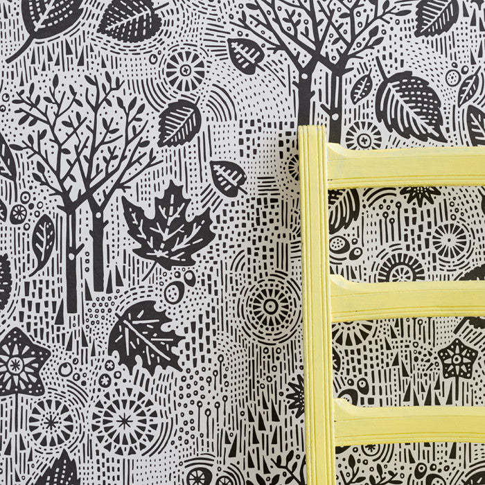 'Autumn', Falling Leaves Wallpaper in Charcoal