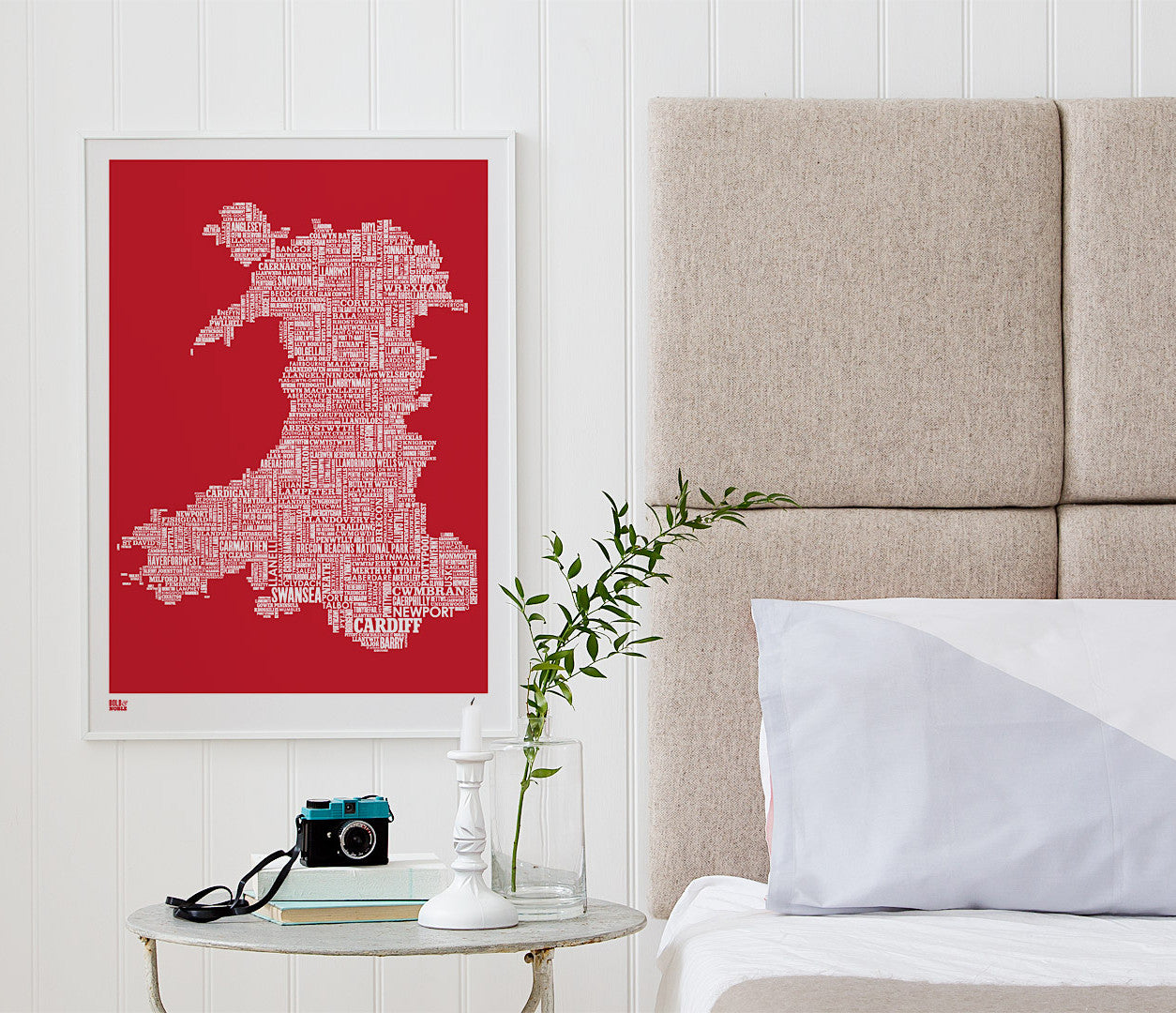 'Wales' Type Map Print in Poppy Red