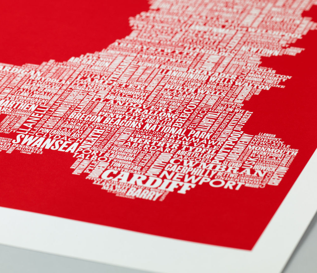 Close up of Illustrated Wales map in red