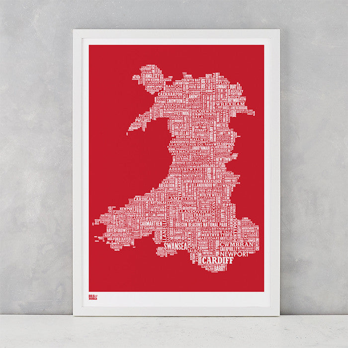 Wales Type Map Print in Red, Screen Printed in the UK, deliver worldwide