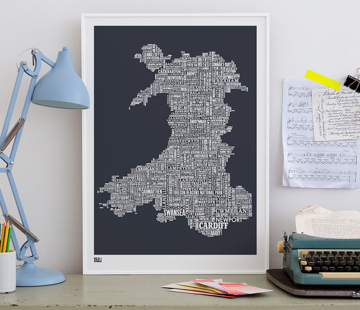 Wordle Map of Wales, place names created with different fonts, fits into standard size frames, or can be bespoke framed.