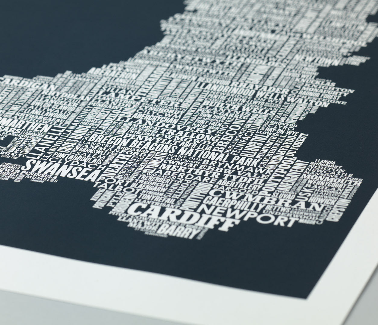 Close up of Illustrated Wales Map in Slate Grey