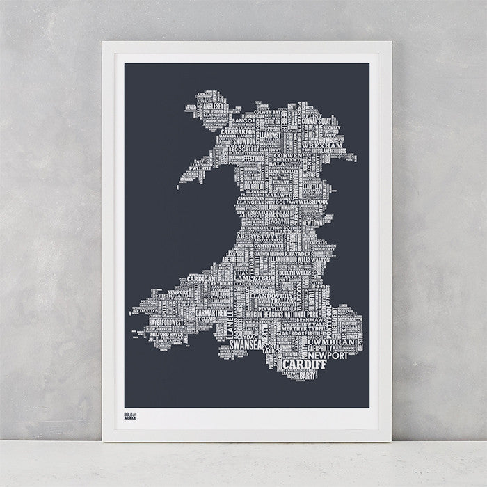 Wales Type Map Print in Slate Dark Grey, Screen Printed in the UK, deliver worldwide