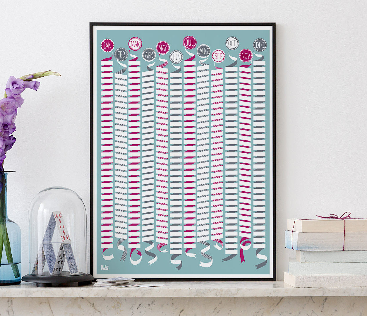 Pictures and Wall Art, Screen Printed Wall Calendar in Blue and Pink