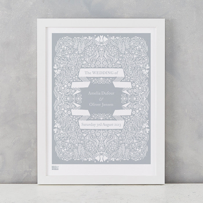 Personalised Wedding Print, Screen Printed in the UK, deliver worldwide