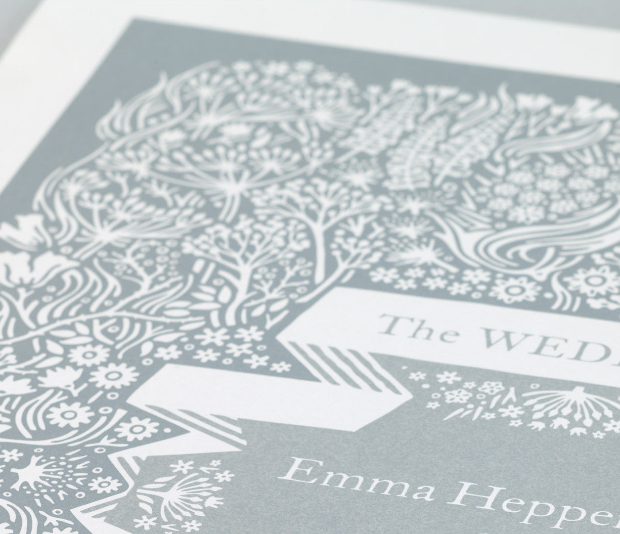 Close up of illustrated personalised Wedding Art Print