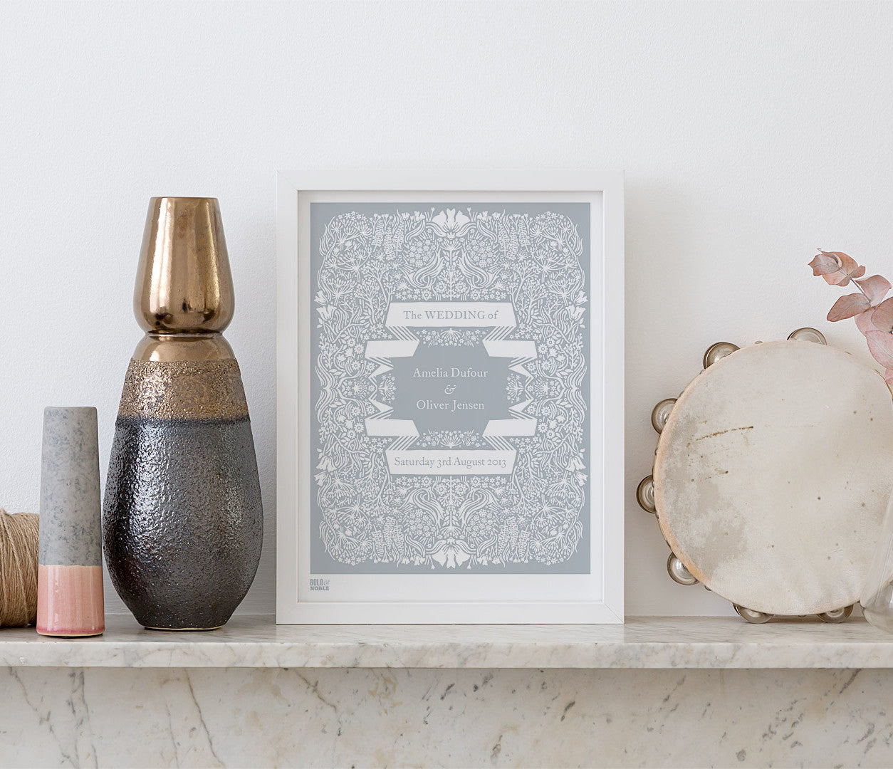 Wall Art Ideas: Economical Screen Prints,Illustrated Personalised Wedding Print