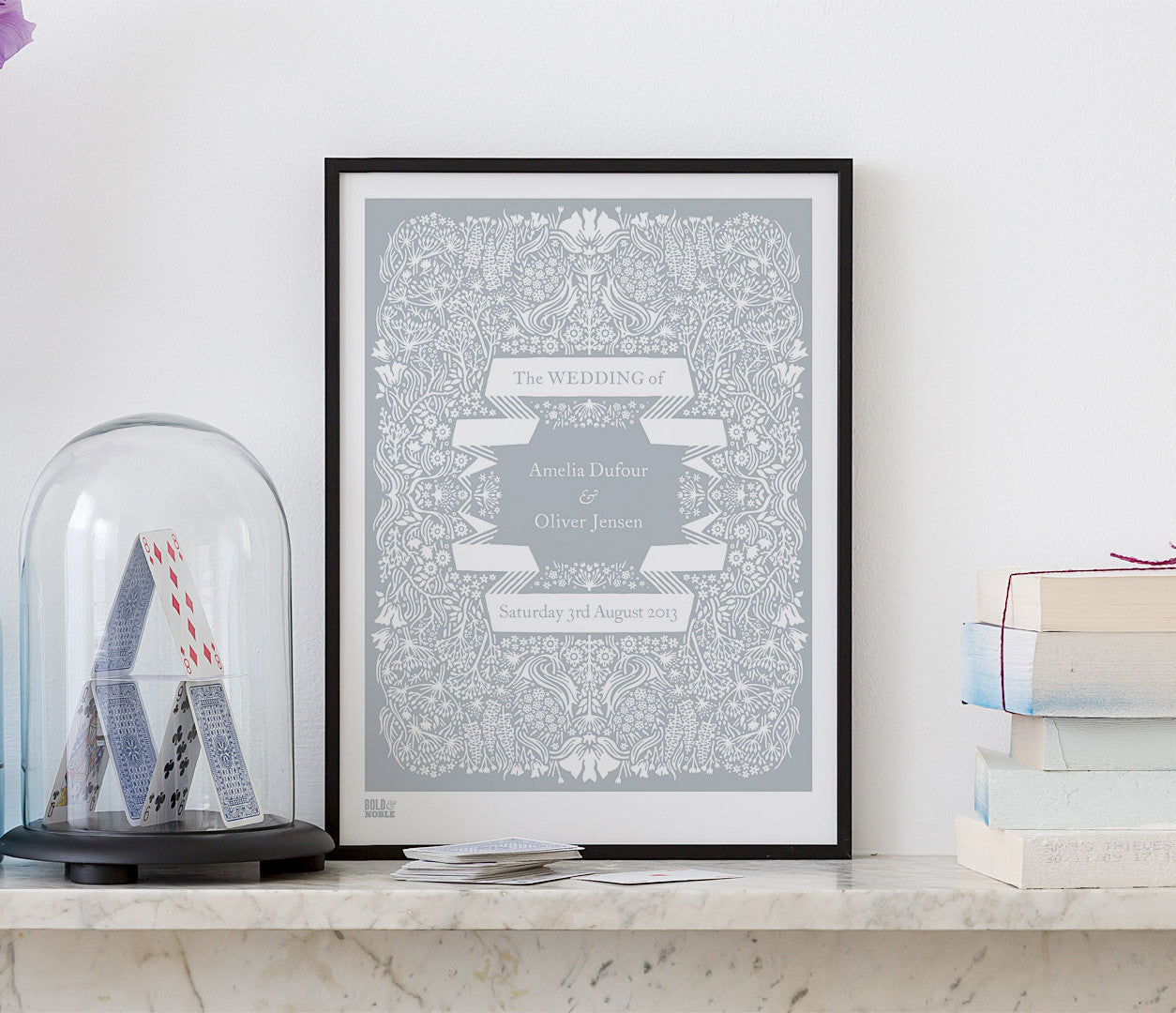 Personalised Wedding Art Print in Warm Grey