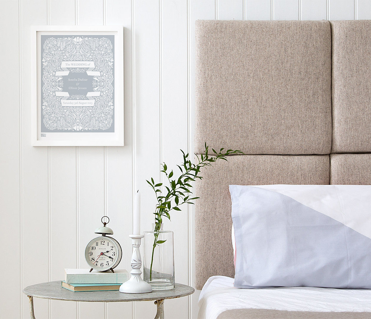 Wall Art where to start: Personalised Wedding Print, Light Grey, Hand Printed in the UK