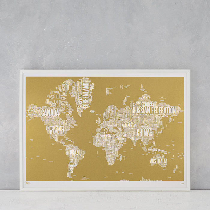 World Type Map in Gold, screen printed in the UK, deliver worldwide