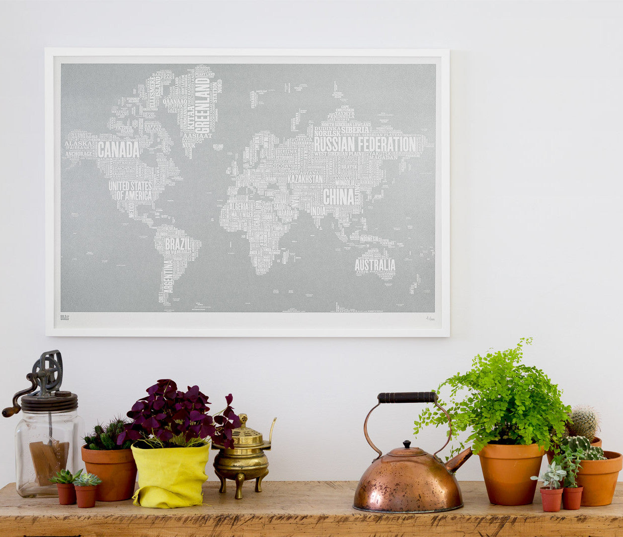 Wordle Map of the World, place names created with different fonts, fits into standard size frames or can be bespoke framed