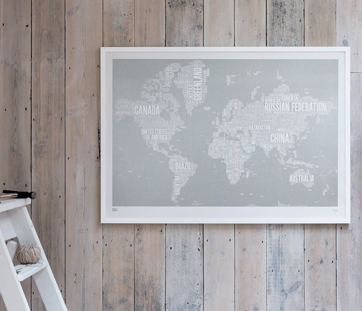 Wordle World Map Screen Printed poster in Silver