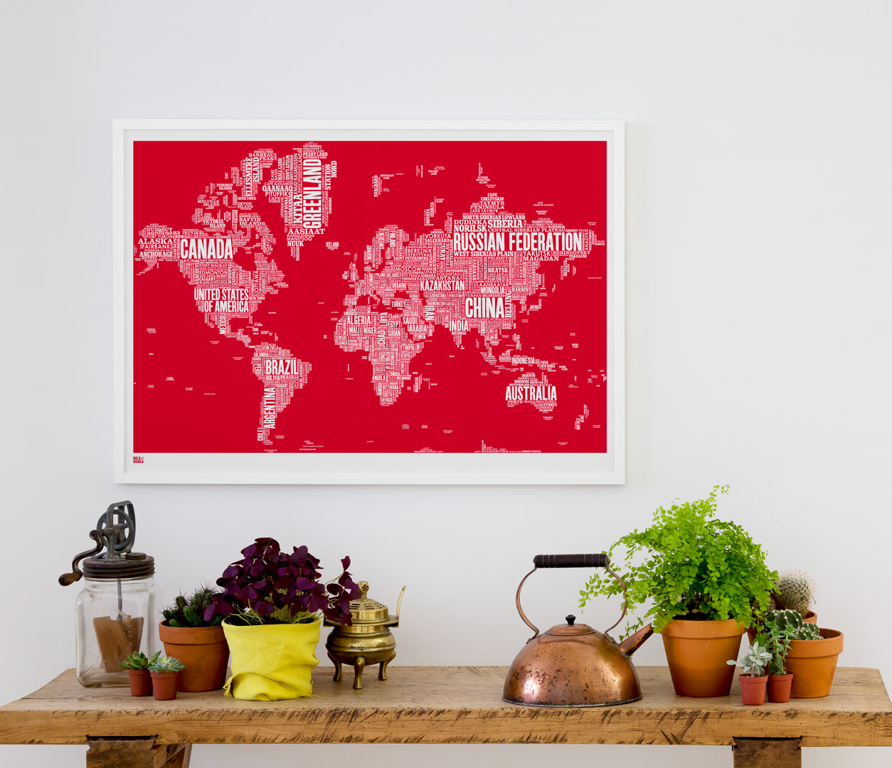 'World' Type Map Print in Poppy Red
