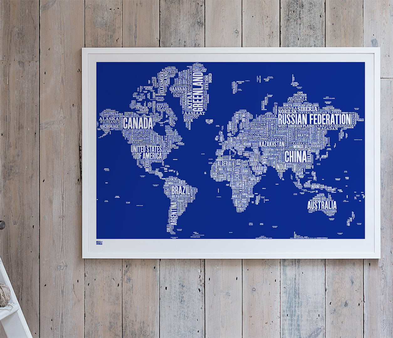 'World' Type Map Print in Reflex Blue