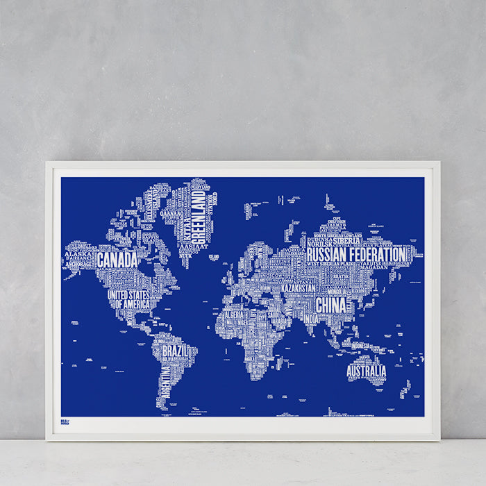 World Type Map in Blue, screen printed in the UK, deliver worldwide