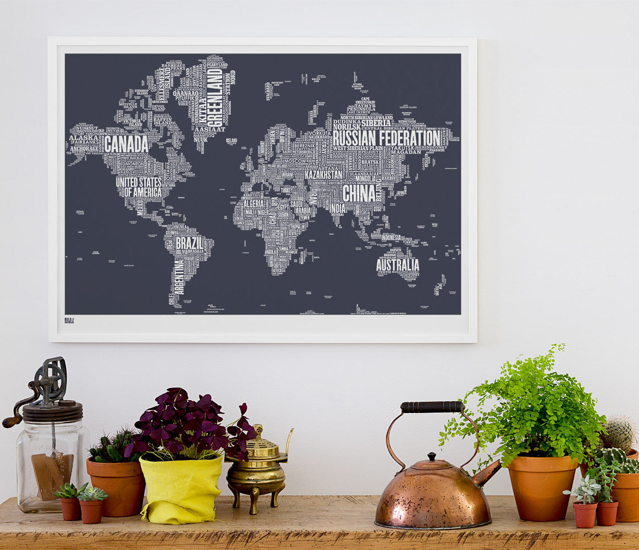 'World' Type Map Print in Sheer Slate
