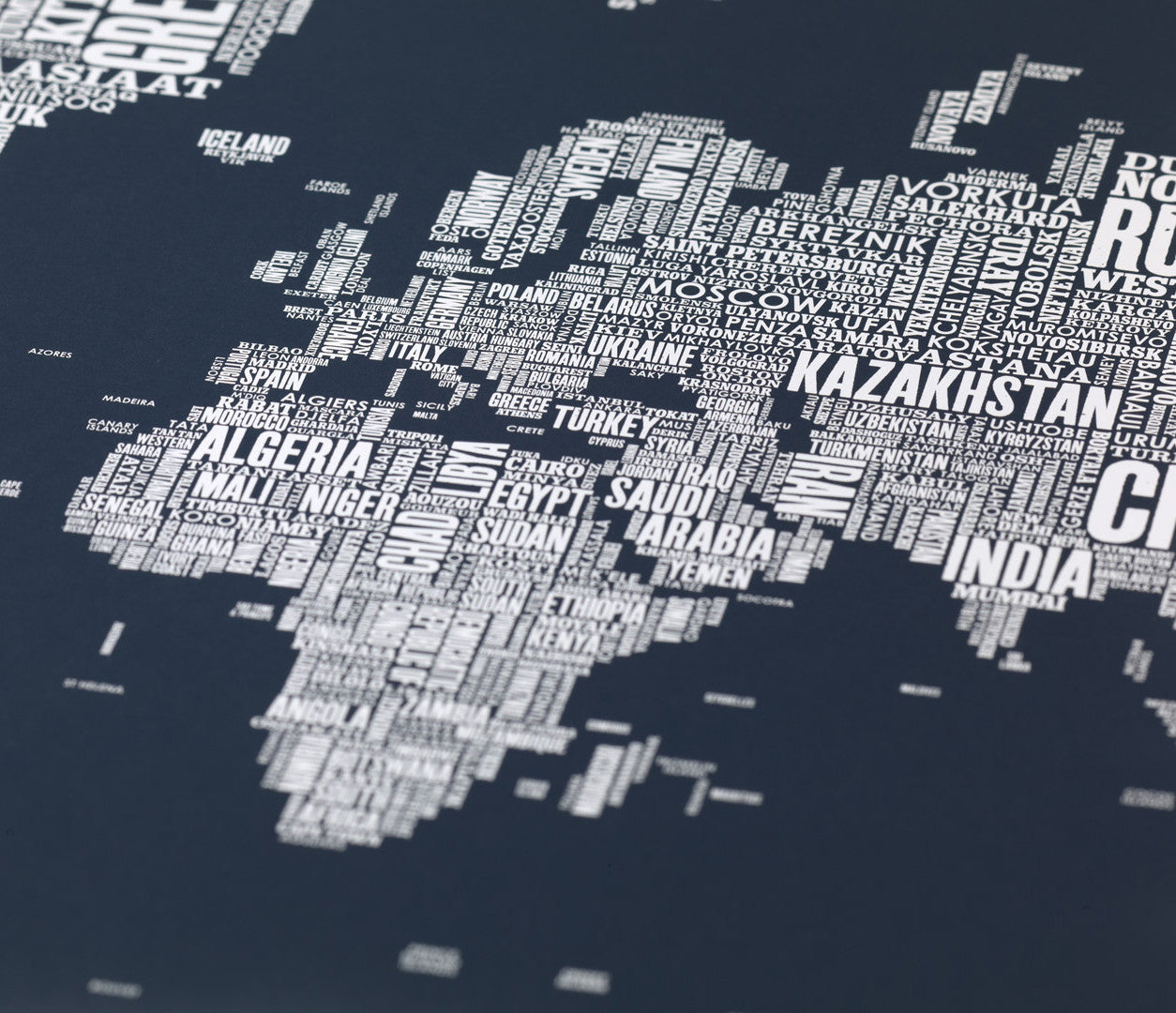 Close up of Wordle Type Map of the World in Dark Slate Grey