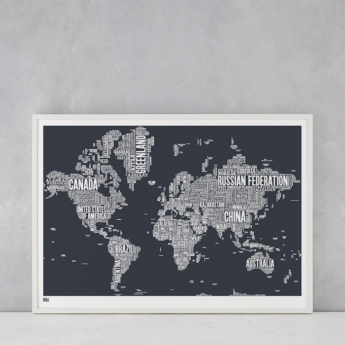World Type Map in Dark Slate Grey, screen printed in the UK, deliver worldwide