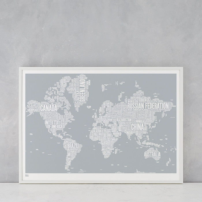 World Type Map in Light Grey, screen printed in the UK, deliver worldwide