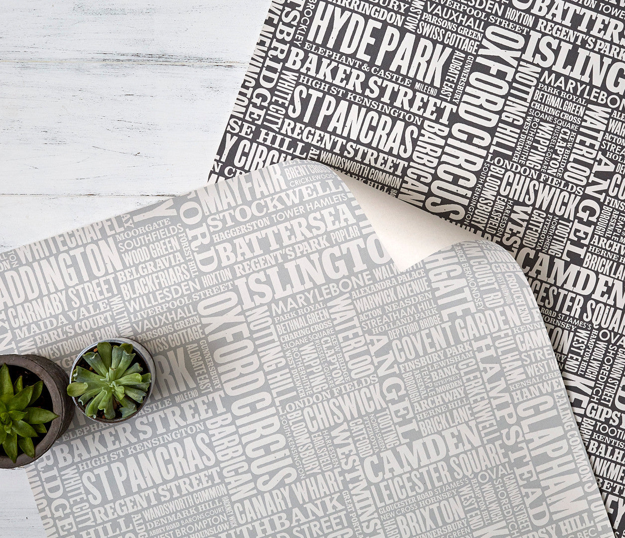 Close up of London Type Wallpaper Design