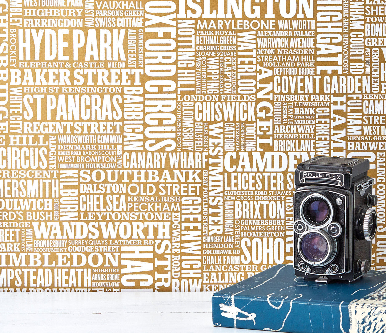 London Wordle Type Wallpaper in Gold, place names created with different fonts