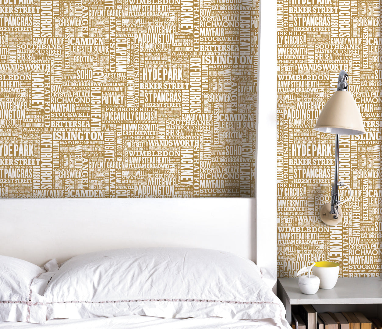 Wall Art where to start: London Type Wallpaper in Gold, printed in the UK