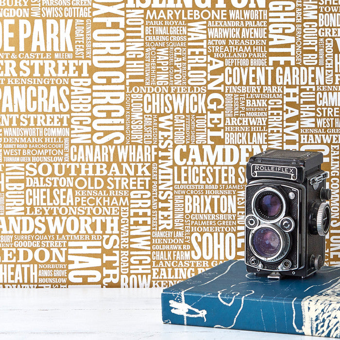 London Type Map Wallpaper, Printed in the Uk, deliver worldwide