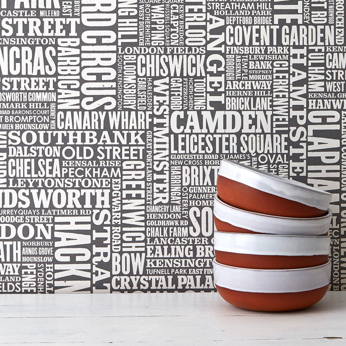 London Type Wallpaper in Dark Grey