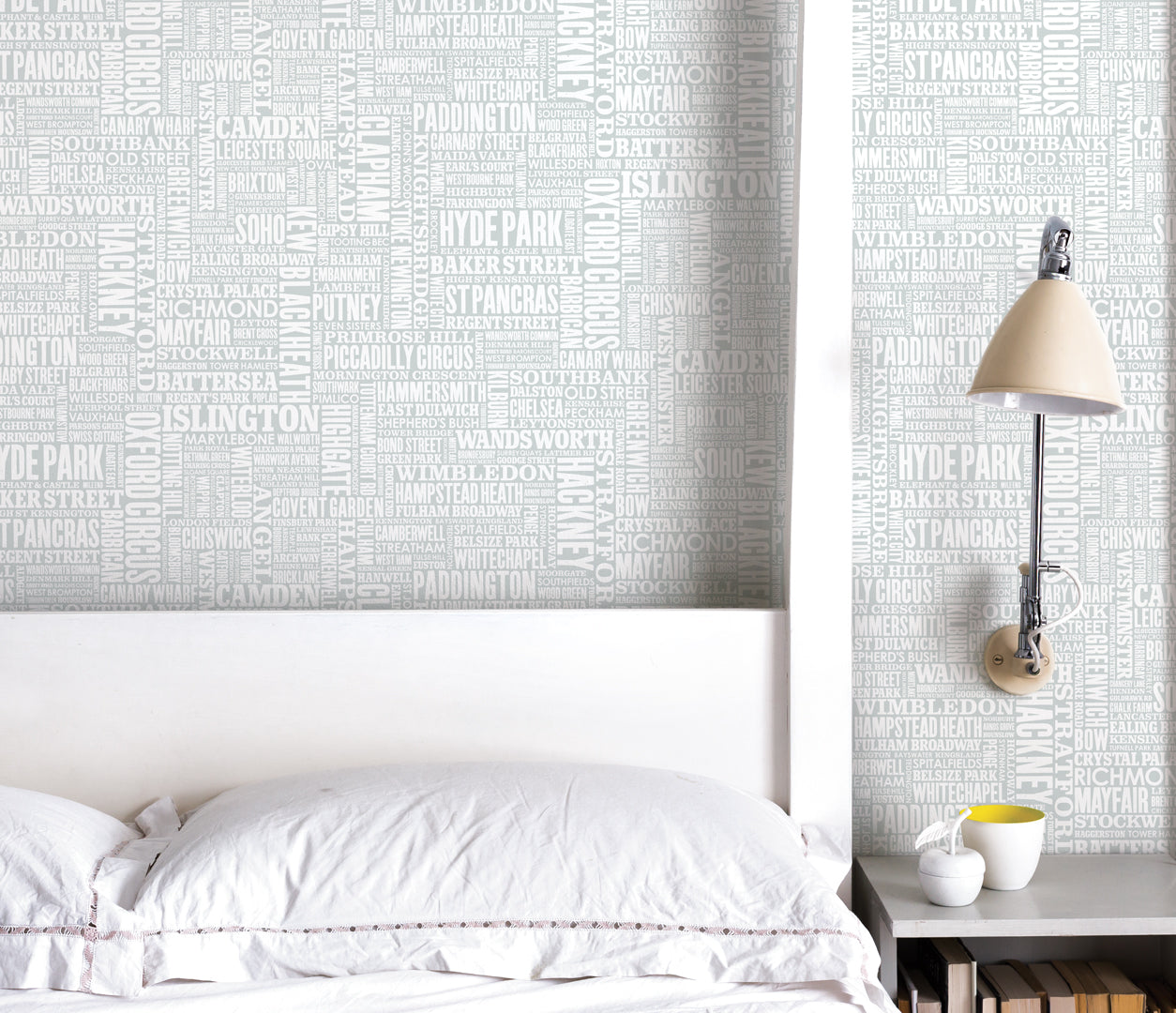 Wall Art where to start: London Type Wallpaper in Light Grey, printed in the UK