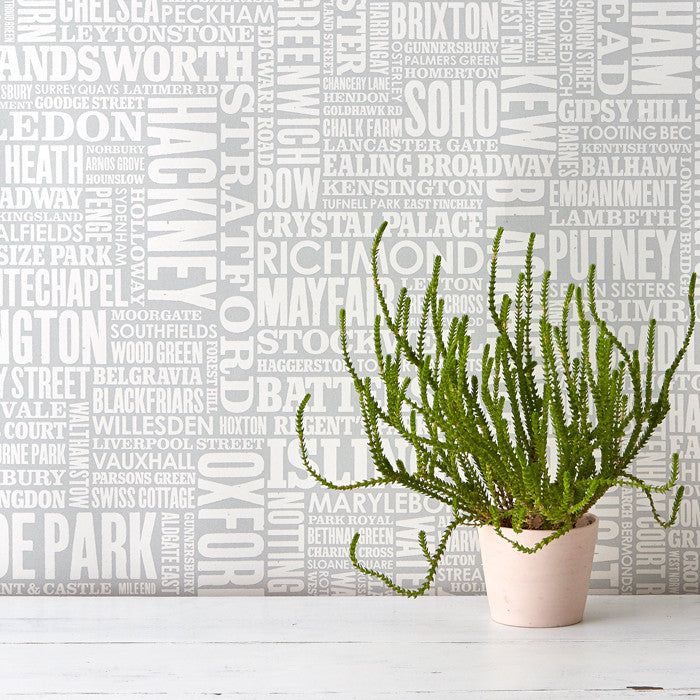 London Type Wallpaper in Light Grey