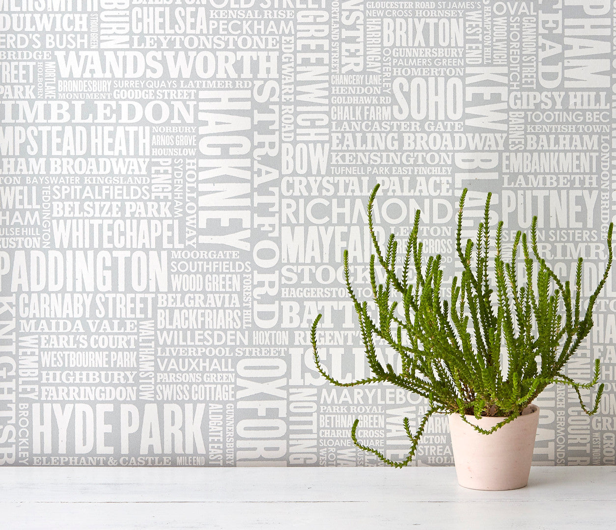 Wordle London Wallpaper Design in Light Grey, Modern Wallpaper Designs for the Home