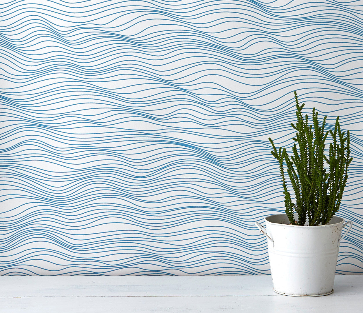Linear Waves Wallpaper in Blue, Modern Wallpaper Designs for the Home