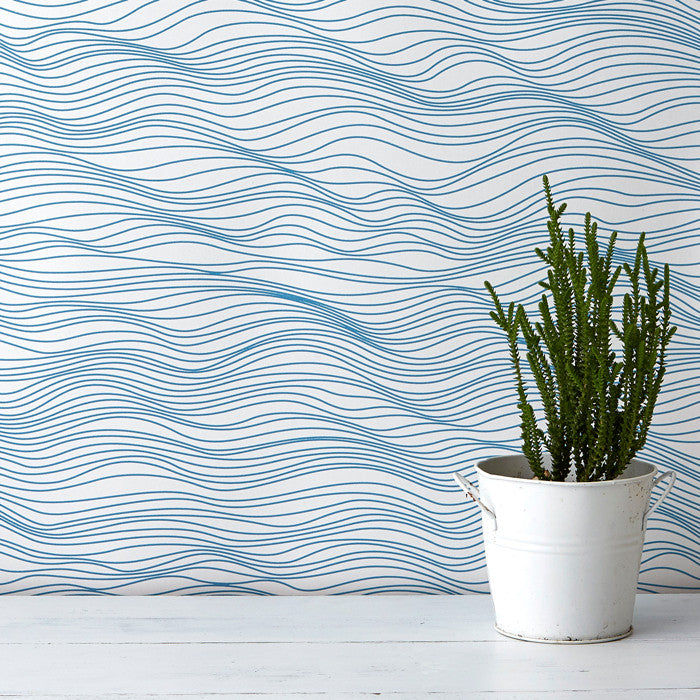 Linear Waves Wallpaper in Ocean Blue