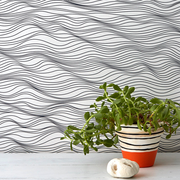 Linear Waves Wallpaper in Sea Slate