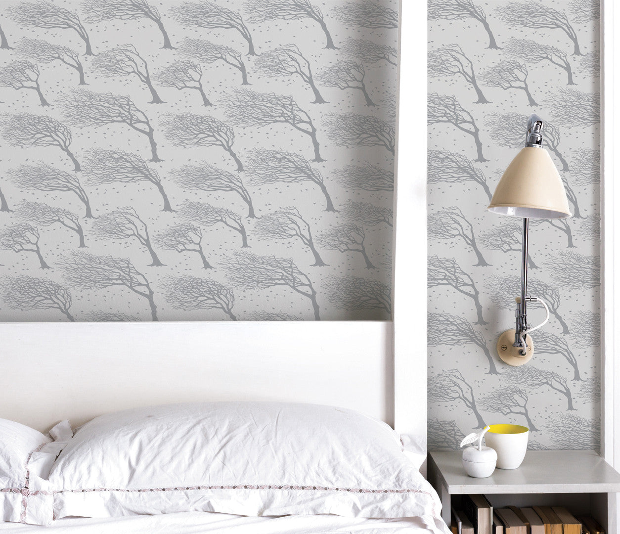 Wall Art Ideas: Economical Screen Prints, Northeasterly Wallpaper in Soft Grey