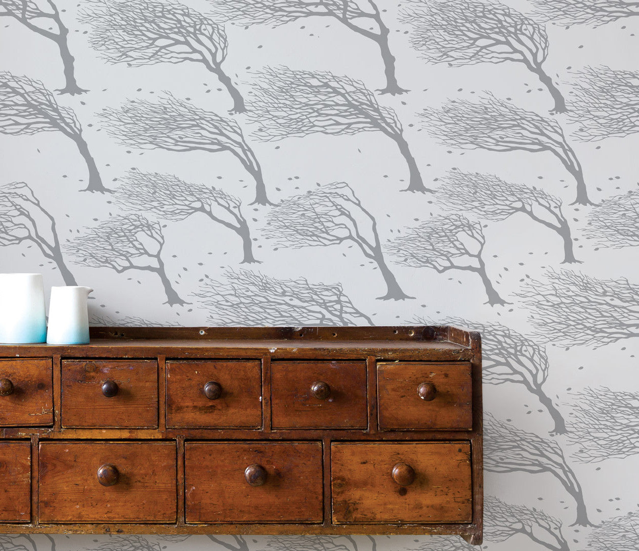 Pictures and Wall Art, Screen Printed Wind Swept Trees Wallpaper in Soft Grey