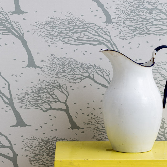 Northeasterly Wallpaper in Soft Grey, printed in the UK, deliver worldwide